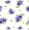 Blue watercolor flowers seamless pattern vector image vector image