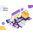 call to action isometric modern flat design vector image vector image
