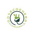 checked eco energy green friendly sign logo icon vector image