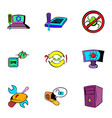 computer virus icons set cartoon style vector image vector image