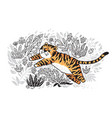 contour print of jungle with orange tiger in vector image