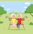 couple in park grandmother grandfather on bench vector image vector image