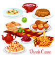 danish cuisine dishes for menu design vector image vector image