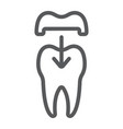 dental crown line icon stomatology vector image vector image