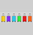 different colors luggage realistic modern travel vector image