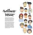 doodle sketched people and lettering - wellness vector image vector image