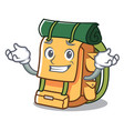 grinning backpack character cartoon style vector image