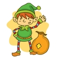 Happy elf with gift bag Christmas vector image vector image