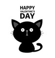 happy valentines day black cute sitting cat baby vector image vector image