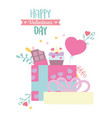happy valentines day open gift with sweet vector image vector image