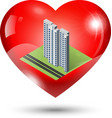 Heart Icon with isometric building inside vector image vector image