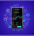 investment trading mobile concept with realistic vector image vector image