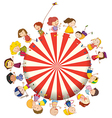 Kids forming a big circle vector image vector image