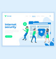 landing page template social internet security vector image