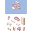 living room furniture isometric set pink folding vector image vector image