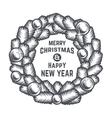 Merry Christmas wreath design Vintage vector image vector image