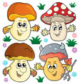 mushroom theme collection 2 vector image vector image