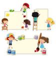 paper template with kids painting on paper vector image vector image