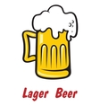 Pint of golden frothy lager or beer vector image vector image