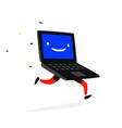 running laptop vintage retro screen in blue logo vector image