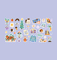 set colorful hand drawn stickers flat vector image