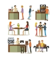 set of coffee room design elements in flat vector image vector image