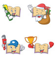 set of open book character with beer gift plumber vector image vector image