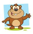 smiling marmot cartoon character waving vector image vector image