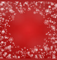 snowflake round border isolated on red back vector image vector image