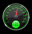 speedometer round black and green gauge with vector image