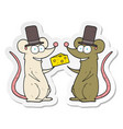 sticker of a cartoon mice with cheese vector image