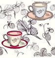 tea or coffee background with cups and strawberry vector image vector image