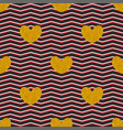 tile pattern with golden hearts zig zag background vector image