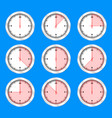 time clock icon set flat design vector image vector image