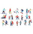 winter activity people men and women playing vector image