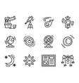 Black line icons for astronomy vector image