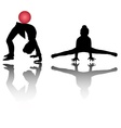 Silhouettes of girl gymnasts vector image