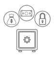 box safe money security bag money dollar outline vector image