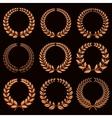 Winner labels with gold laurel wreaths set vector image