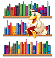 A library with a duck reading vector image vector image