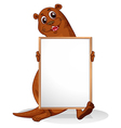 A sealion holding an empty whiteboard vector image vector image