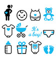 baby boy shower icons set pregnant woman vector image vector image