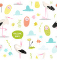 bashower seamless pattern with cute stork vector image