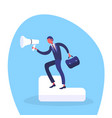 businessman holding loudspeaker information vector image