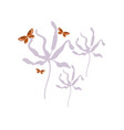 butterfly flowers card floral design element vector image vector image