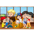 Children reading and working in group vector image vector image