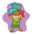 Christmas elf bring gift cartoon vector image vector image