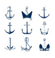 collection of nautical anchors of various types vector image vector image