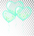 colored heart balloons green isolated on white vector image