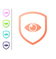 coral shield and eye icon isolated on white vector image vector image